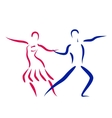 Dancing couple logo isolated on white background vector image