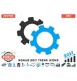 Gears Flat Icon With 2017 Bonus Trend vector image