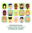international day of peace the world starts with vector image