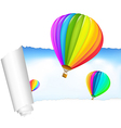 Paper With Air Balloons In The Sky vector image