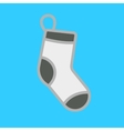 White Christmas stocking on blue background vector image
