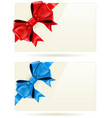 gift cards with bow and ribbon vector image