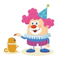 Clown with trained dog vector image vector image