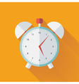 Alarm clock flat icon over yellow vector image