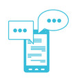 blue color silhouette of smartphone with speech vector image