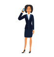 businesswoman calling by mobile phone cartoon flat vector image