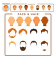 man constructor with face and hair samples set vector image