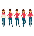 stylized character set smiling business woman vector image