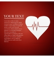 Heart Rate flat icon on red background vector image
