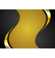 Bright corporate golden and black wavy background vector image
