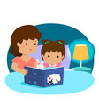 a of a mother reading a bedtime vector image