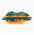 autumn landscape in flat style vector image