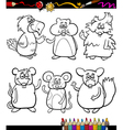 cute pets cartoon coloring book vector image