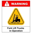 Forklift truck sign Symbol of threat alert vector image