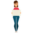 modern business woman holding blank sign vector image