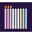 Set of birthday multicolored candles New burning vector image