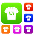 t-shirt with print adv set collection vector image