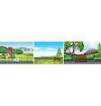 Three scenes of public park vector image