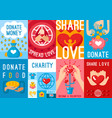 charity donation posters set vector image