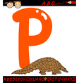 letter p for pangolin cartoon vector image