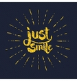 Yellow Just Smile Texts with Rays on Gray vector image