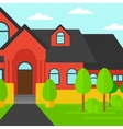 Background of red house with beautiful landscape vector image