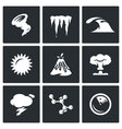 Set of Cataclysm Icons Tornado Frost vector image