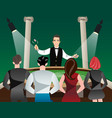 casino and roulette with men women and croupier vector image