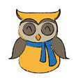 christmas owl character bird funny vector image