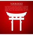 Japan Gate Torii gate flat icon on red background vector image