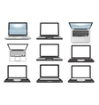Laptop computer Set of icons symbols vector image