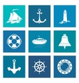 Set of Blue Marine Icons vector image