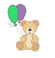 Teddy Bear is sitting with balloones vector image
