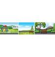 Three scenes of public park vector image