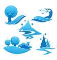 Collection of winter landscape symbols and vector image