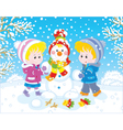 Children making a Christmas snowman vector image