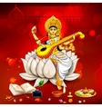 Goddess of Wisdom Saraswati for Vasant Panchami vector image