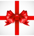 Red bow on a ribbon for a gift vector image