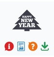 Happy new year sign icon Christmas tree vector image