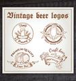 hand drawn vintage set of beer logo on wooden desk vector image