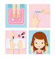 Relaxing Girl In Nail Salon Set vector image