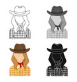 Cowgirl icon in cartoon style isolated on white vector image