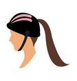 profile head woman with sport helmet vector image