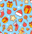 seamless christmas pattern on blue background vector image