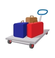 Suitcases on a cart cartoon icon vector image