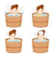 Girl Relaxing In Hot Spring Bath Set vector image