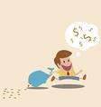 Man loss money because of careless vector image