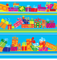 Seamless pattern with colorful gift boxes presents vector image vector image