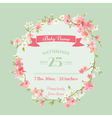 Baby Shower or Arrival Cards - with Spring Blossom vector image