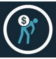 Money courier flat blue and white colors rounded vector image
